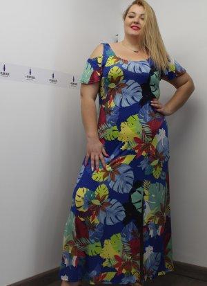 Φόρεμα maxi εμπριμέ μαγιόπανο με έξω ώμους και σκίσιμο στο πλάι
