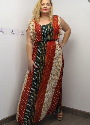 Φόρεμα maxi μουσελίνα εμπριμέ μπεζ αρχαιοελληνικού τύπου