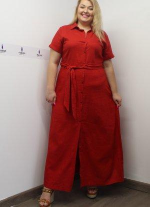 Φόρεμα λινό σεμιζιέ κοντομάνικο κόκκινο με γιακά και ζωνάκι