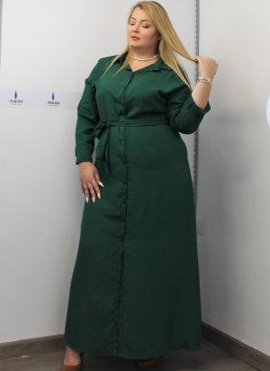 Φόρεμα μεγάλα μεγέθη σεμιζιέ κυπαρισσί ζωνάκι καλές τιμές