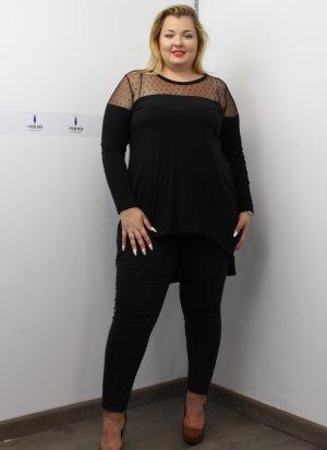 Μαύρο μεγάλα μεγέθη ασύμμετρο μπλουζοφόρεμα