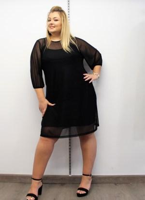 Φόρεμα midi ριγέ μαύρο με λαστιχάκι στα μανίκια και μεσοφόρι