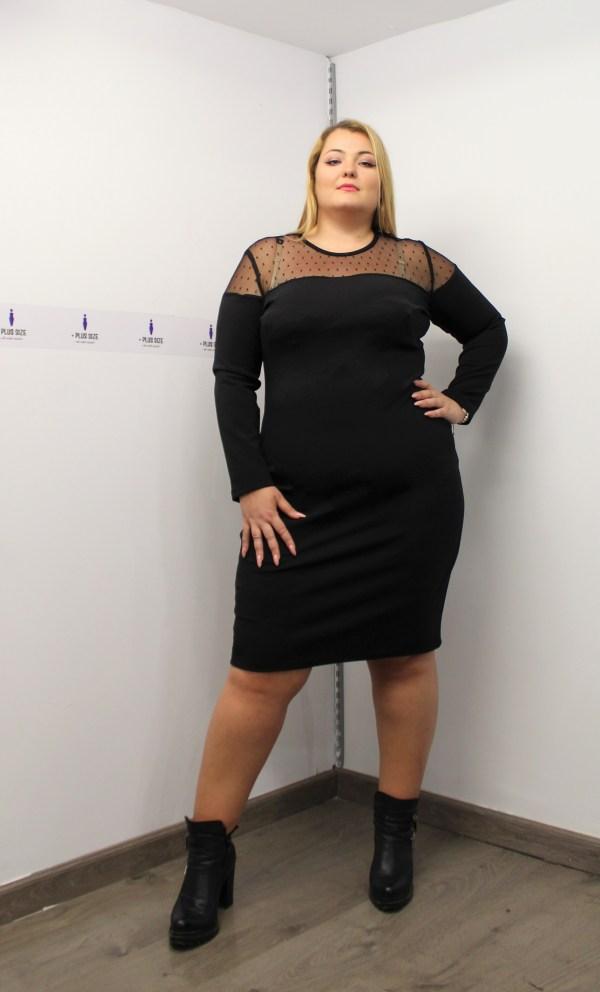 Φόρεμα μεγάλα μεγέθη midi μαύρο με διαφάνεια στους ώμους