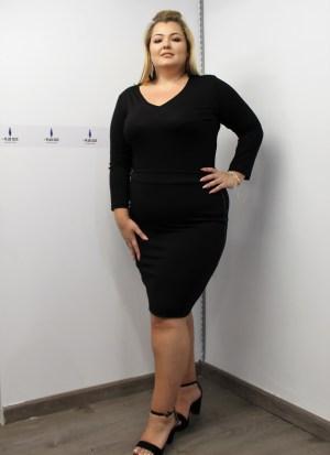 Φούστα μεγάλα μεγέθη κρεπ ελαστική κόκκινη με δερμάτινο ρέλι