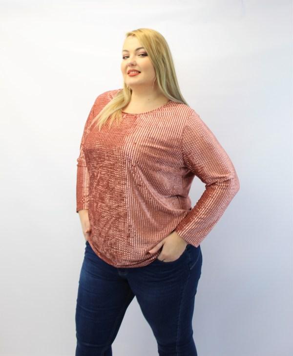 Μπλούζα μεγάλα μεγέθη ανάγλυφη ρίγα ροζ και εσωτερική φόδρα