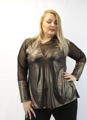 Μπλούζα μεγάλα μεγέθη λούρεξ με διαφάνεια στα μανίκια και στο στήθος