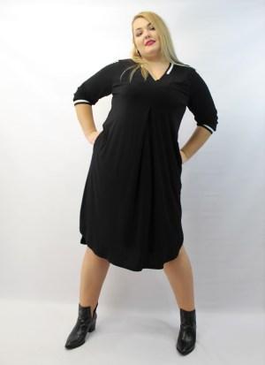 Φόρεμα μεγάλα μεγέθη μαύρο κρεπ 3/4 μανίκι και V στο στήθος