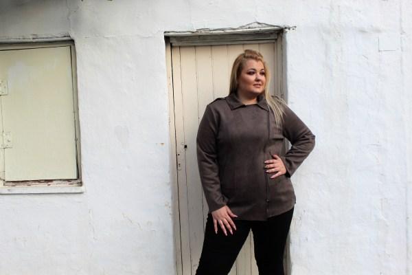 Jacket μεγάλα μεγέθη alcantara ποντική με κλασσικό φερμουάρ