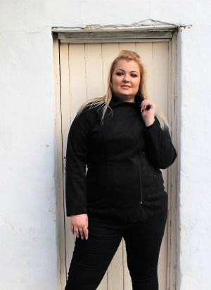 Jacket μεγάλα μεγέθη alcantara μαύρο με κλασσικό φερμουάρ