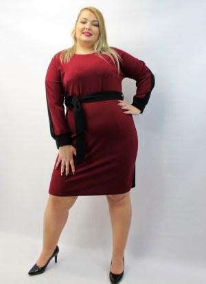 Φόρεμα μεγάλα μεγέθη ίσια γραμμή μπορντό κρεπ με ζωνάκι