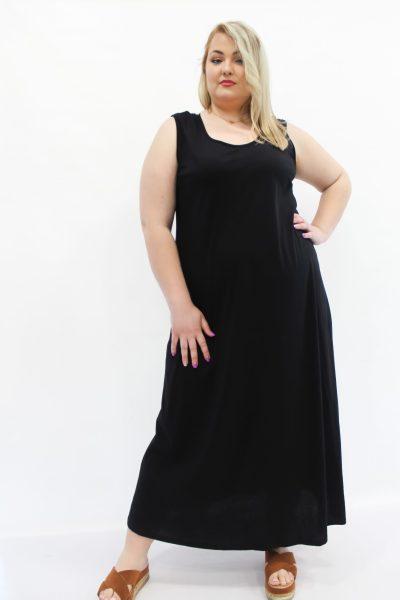 Φόρεμα maxi αμάνικο με δαντέλα στη πλάτη