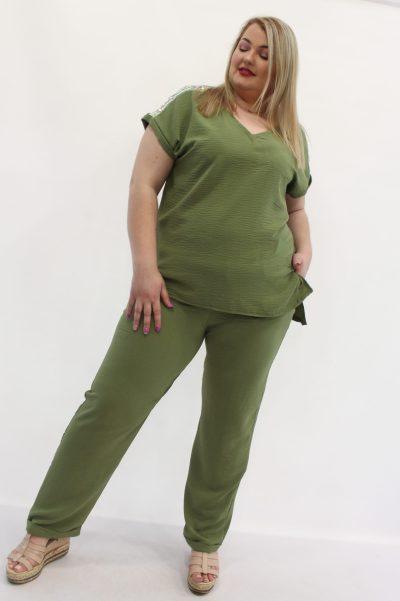 Παντελόνι δροσερό ύφασμα με λάστιχο στη μέση,τσέπες και ρεβέρ