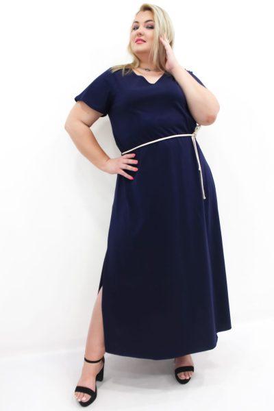 Φόρεμα βαμβακερό maxi με V στο στήθος και ζωνάκι σε 3 χρώματα