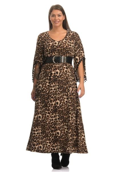 Φόρεμα λεοπάρ καφέ με κρόσι στα μανίκια