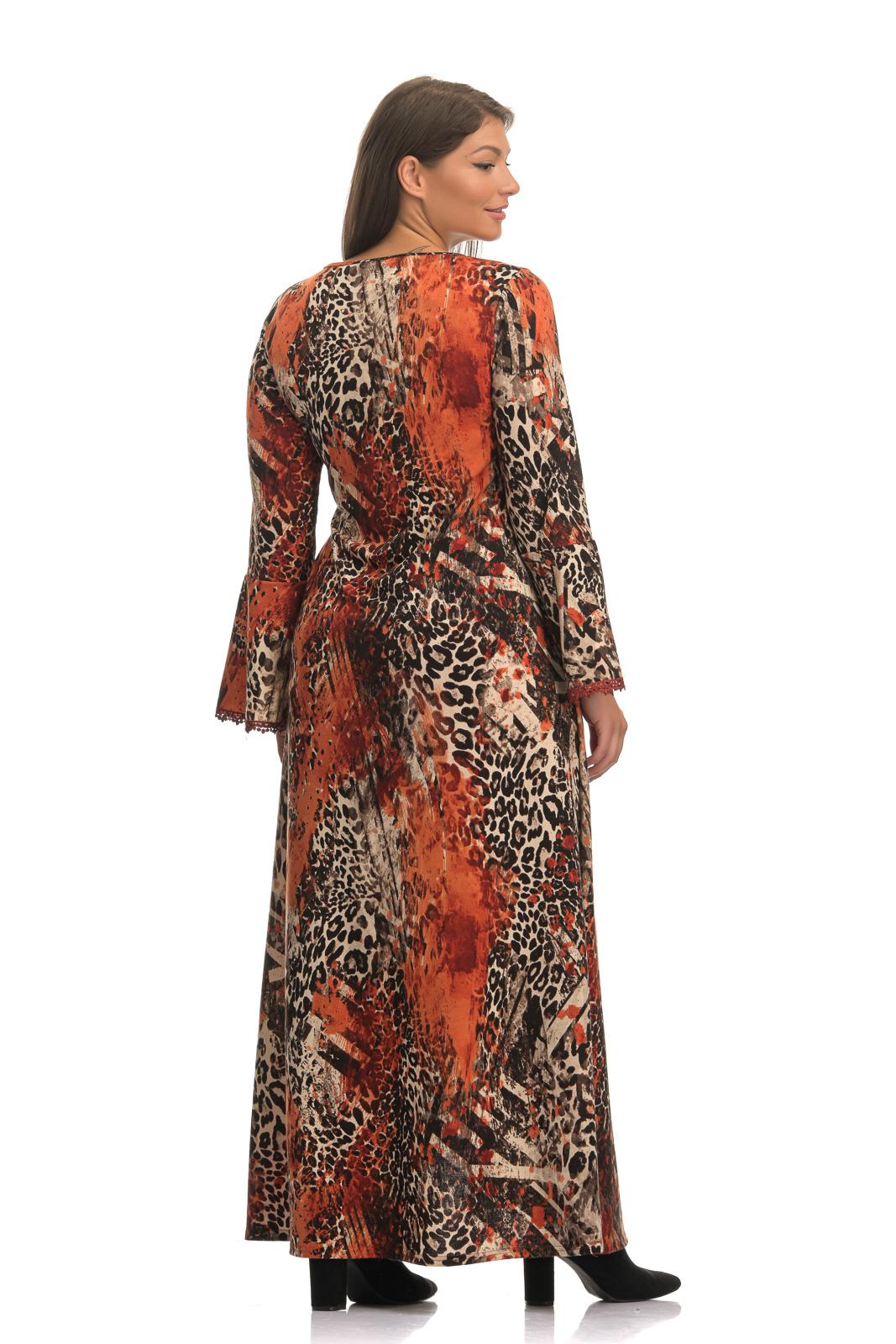 Φόρεμα κρουαζέ λεοπαρ  με καμπάνα μανίκι και δέσιμο στη μέση