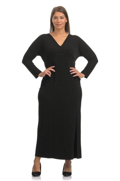 Φόρεμα μαύρο με V και σκίσιμο στο τελείωμα