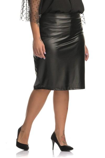 Δερμάτινη φούστα μαύρη ψηλόμεση ελαστική με φερμουάρ