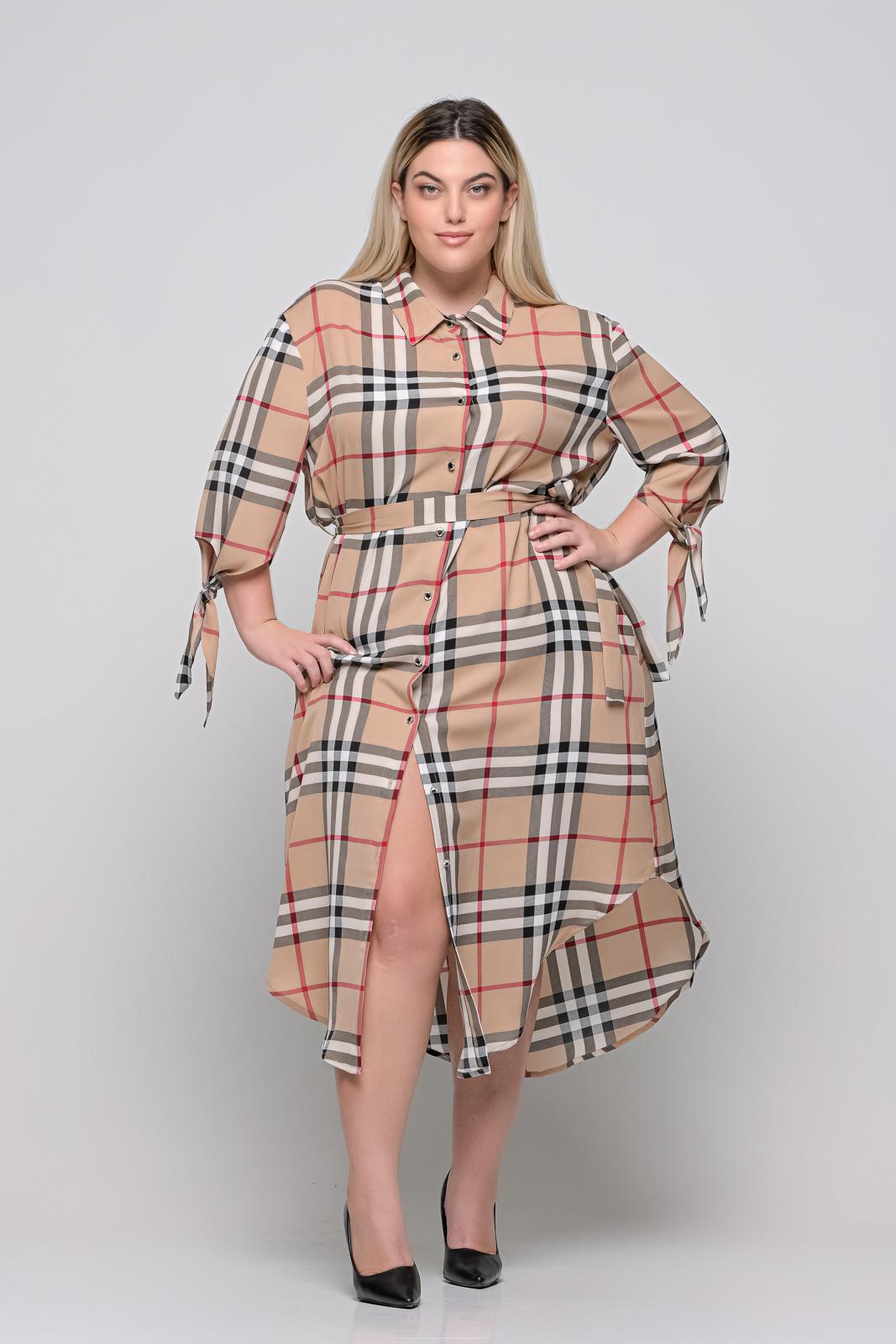 Σεμιζιέ μεγάλα μεγέθη καρό με ζωνάκι και δέσιμο στα μανίκια.Στο eshop μας θα βρείτε οικονομικά γυναίκεια ρούχα σε μεγάλα μεγέθη και υπερμεγέθη.