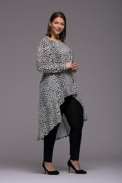 Μπλούζoφόρεμα ζορζέτα λεοπάρ ασύμμετρο