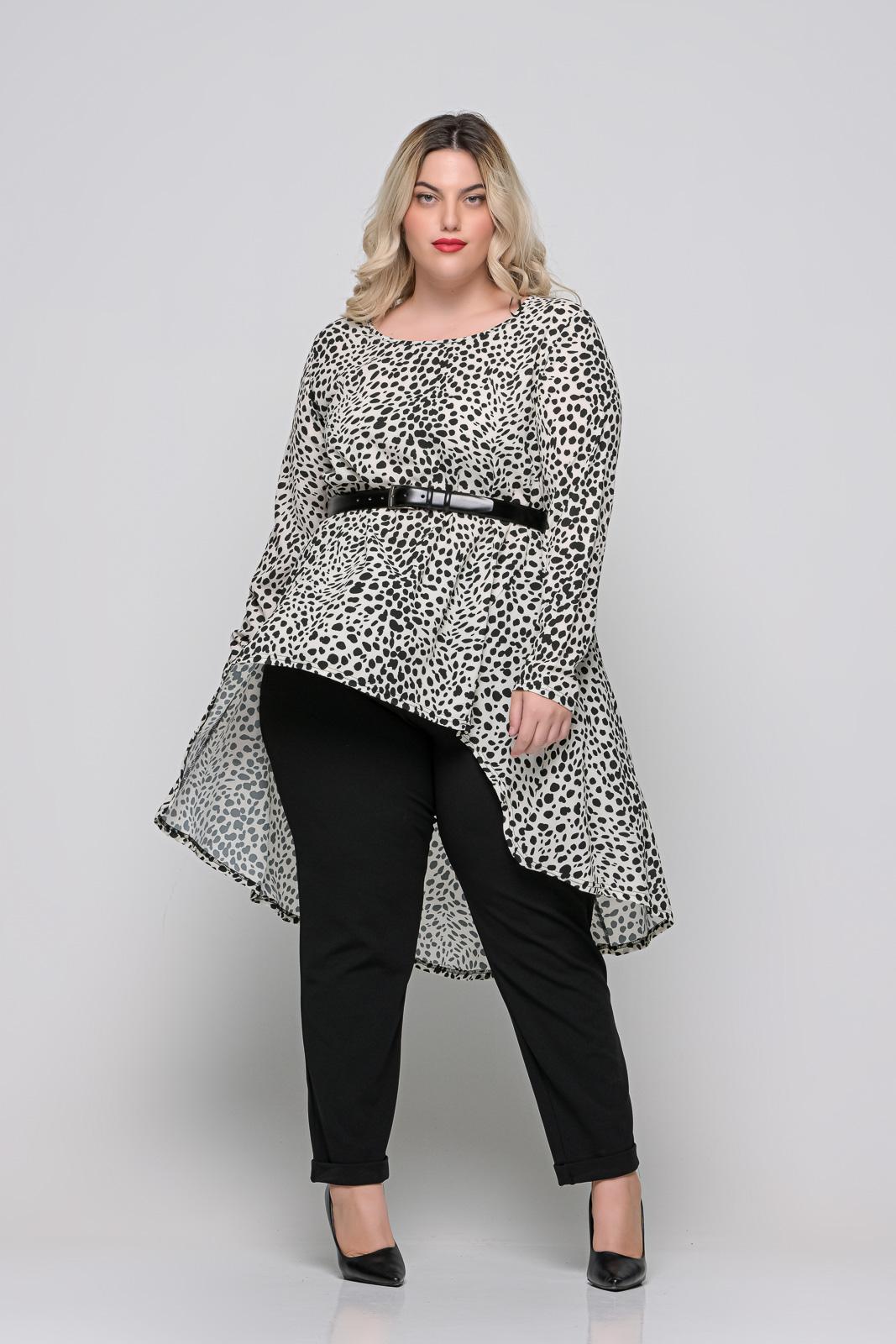 Μπλούζoφόρεμα μεγάλα μεγέθη ζορζέτα λεοπάρ ασύμμετρο. Στο eshop μας θα βρείτε οικονομικά γυναίκεια ρούχα σε μεγάλα μεγέθη και υπερμεγέθη.
