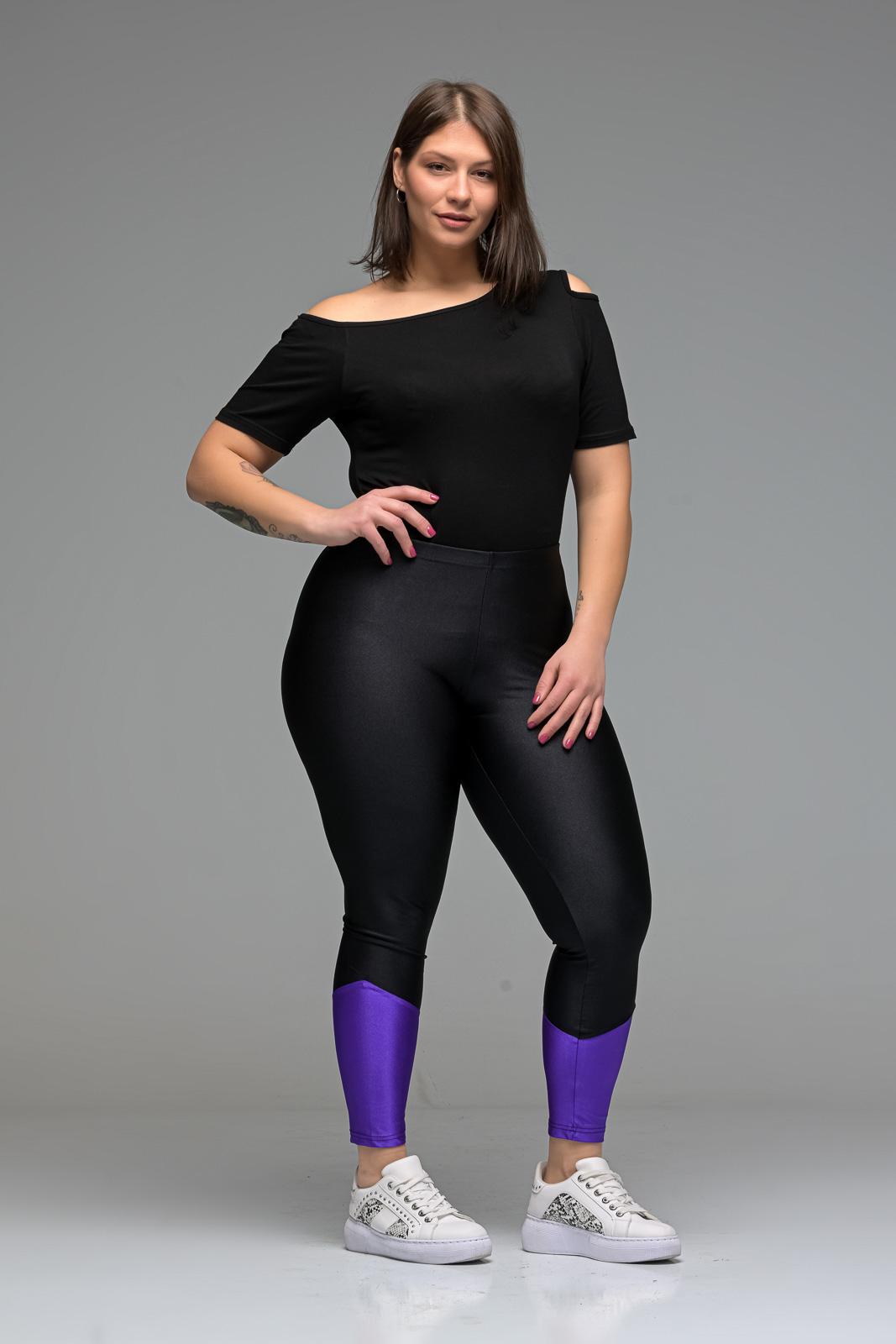 Κολάν λύκρα μαύρο/μοβ  ψηλόμεσο ελαστικό