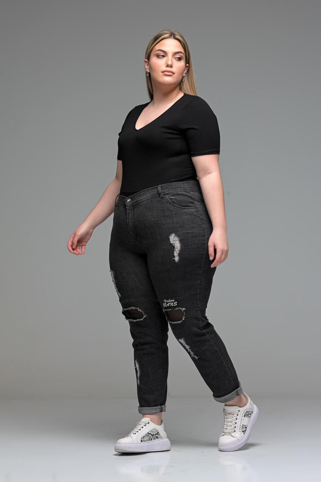 Τζιν +Psx ελαστικό μεγάλα μεγέθη με σκισίματα και δίχτυ στα γόνατα