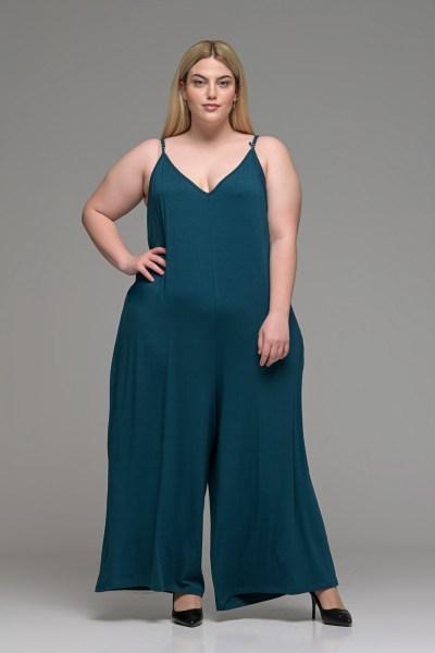 Ολόσωμη φόρμα παντελόνα πετρόλ με ραντάκι