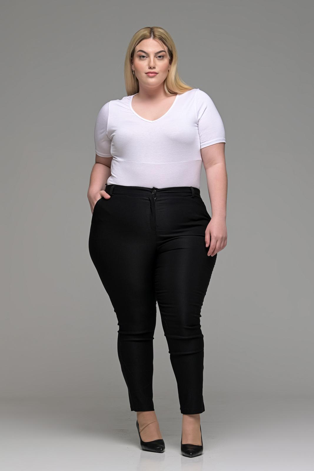 Παντελόνι μεγάλα μεγέθη μαύρο ελαστικό Carrot