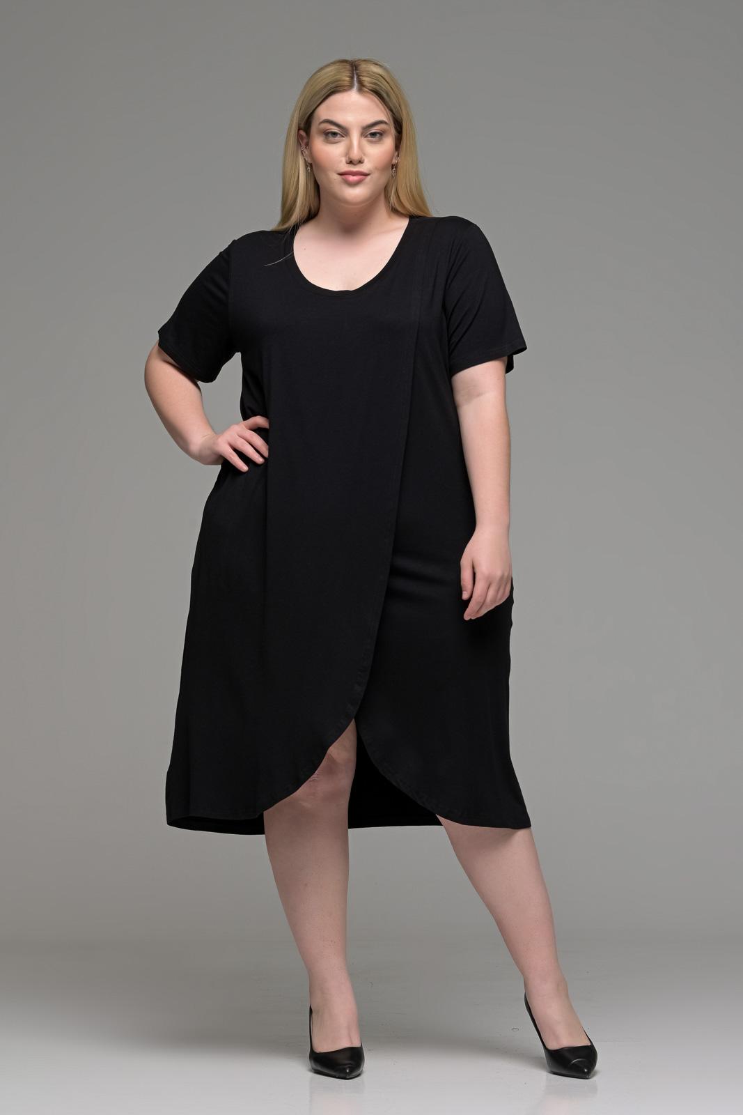 Φόρεμα μεγάλα μεγέθη φάκελος βισκόζ μαύρο σε γραμμή Α