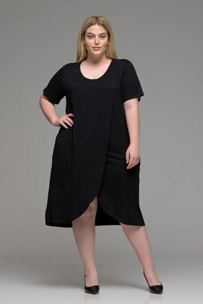 Φόρεμα φάκελος βισκόζ μαύρο σε γραμμή Α