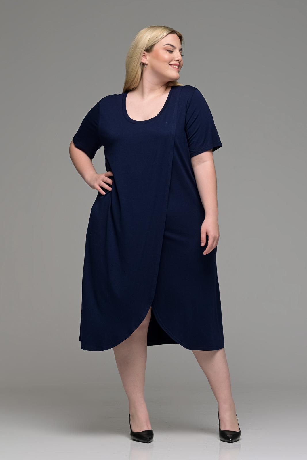 Φόρεμα μεγάλα μεγέθη φάκελος βισκόζ μπλε σε γραμμή Α