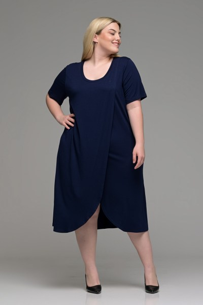 Φόρεμα φάκελος βισκόζ μπλε σε γραμμή Α
