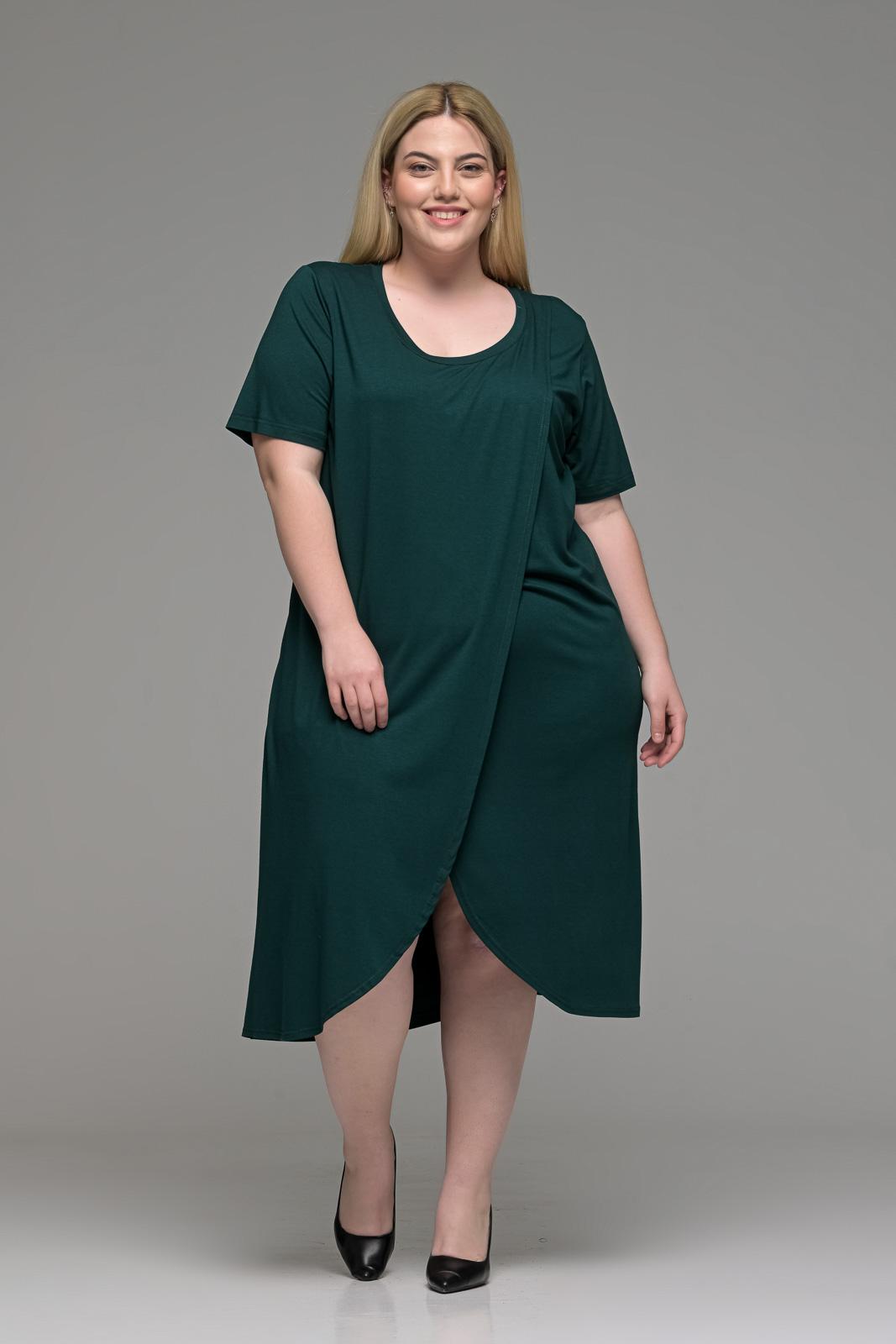 Φόρεμα μεγάλα μεγέθη φάκελος βισκόζ κυπαρισσί σε γραμμή Α