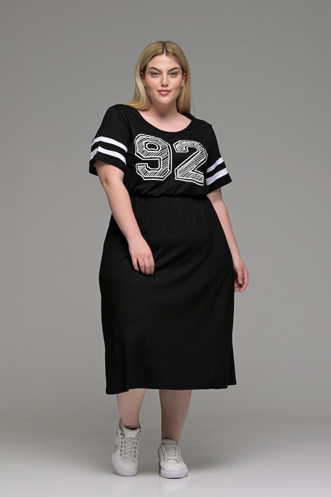 Φόρεμα μεγάλα μεγέθη βισκόζ με ανάγλυφη στάμπα και λάστιχο στη μέση