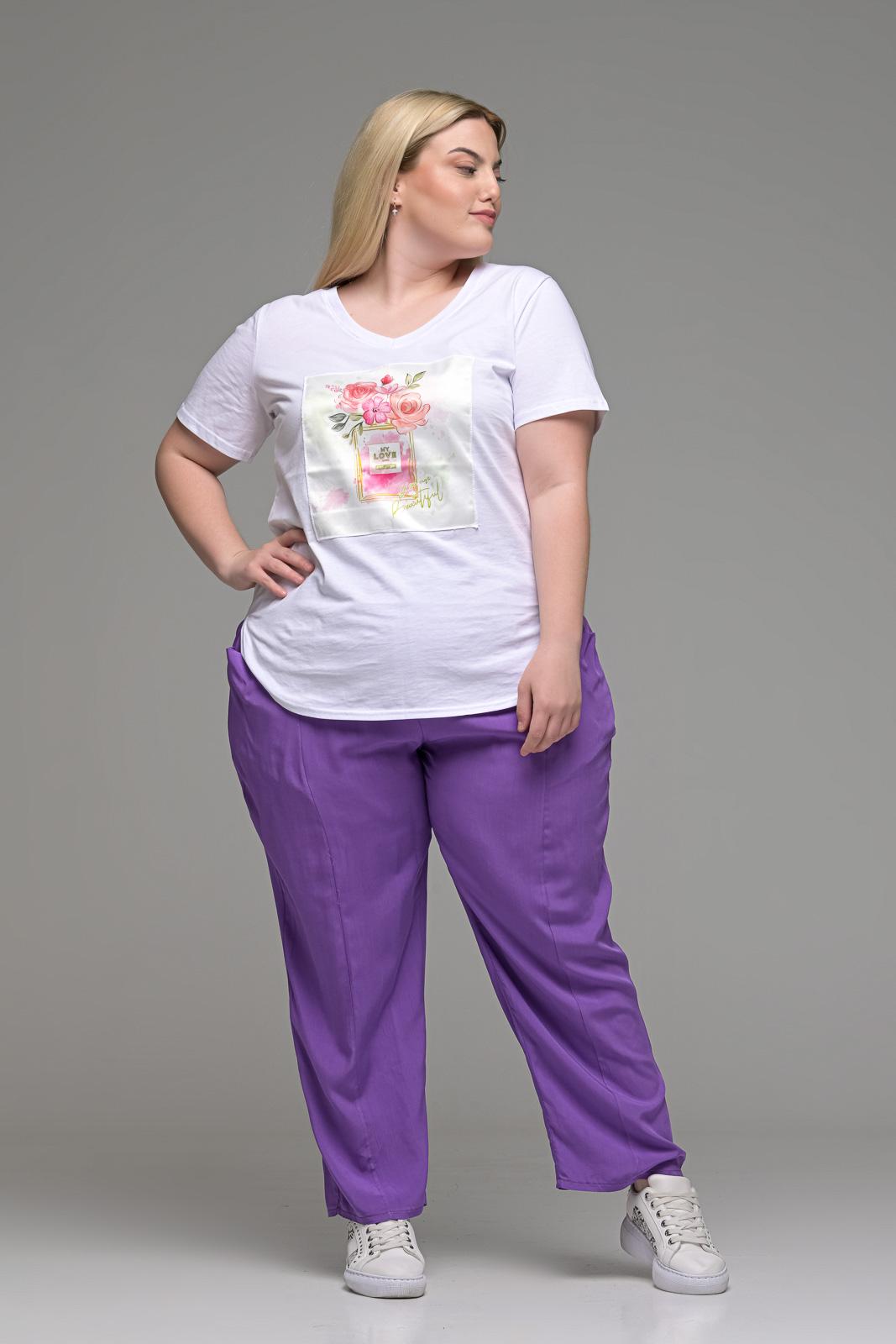 Παντελόνα μεγάλα μεγέθη ανάλαφρη βιέλα λιλά με τσέπες και λάστιχο στη μέση