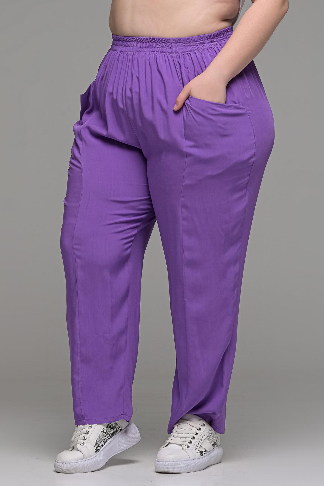 Παντελόνι ανάλαφρο βιέλα λιλά με τσέπες και λάστιχο στη μέση