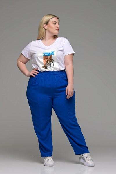 Παντελόνι ανάλαφρο βιέλα ρουά με τσέπες και λάστιχο στη μέση