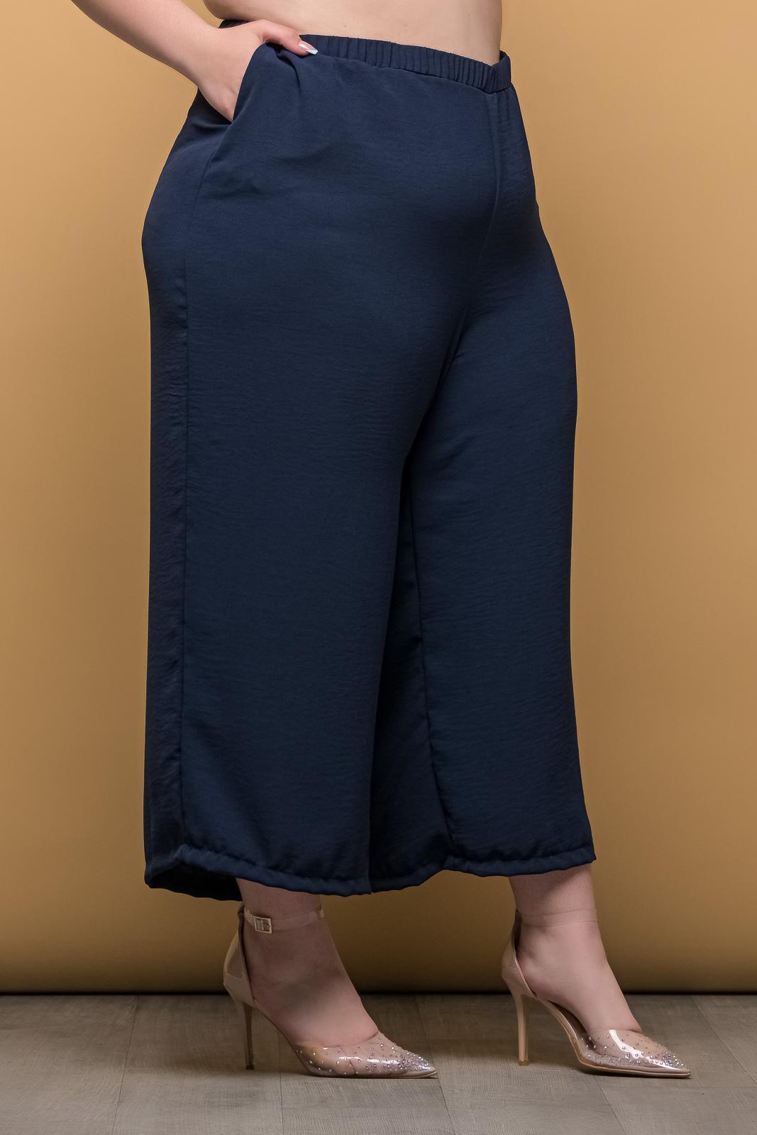 Ζιπ κιλοτ μπλε ανάλαφρη με λάστιχο στη μέση