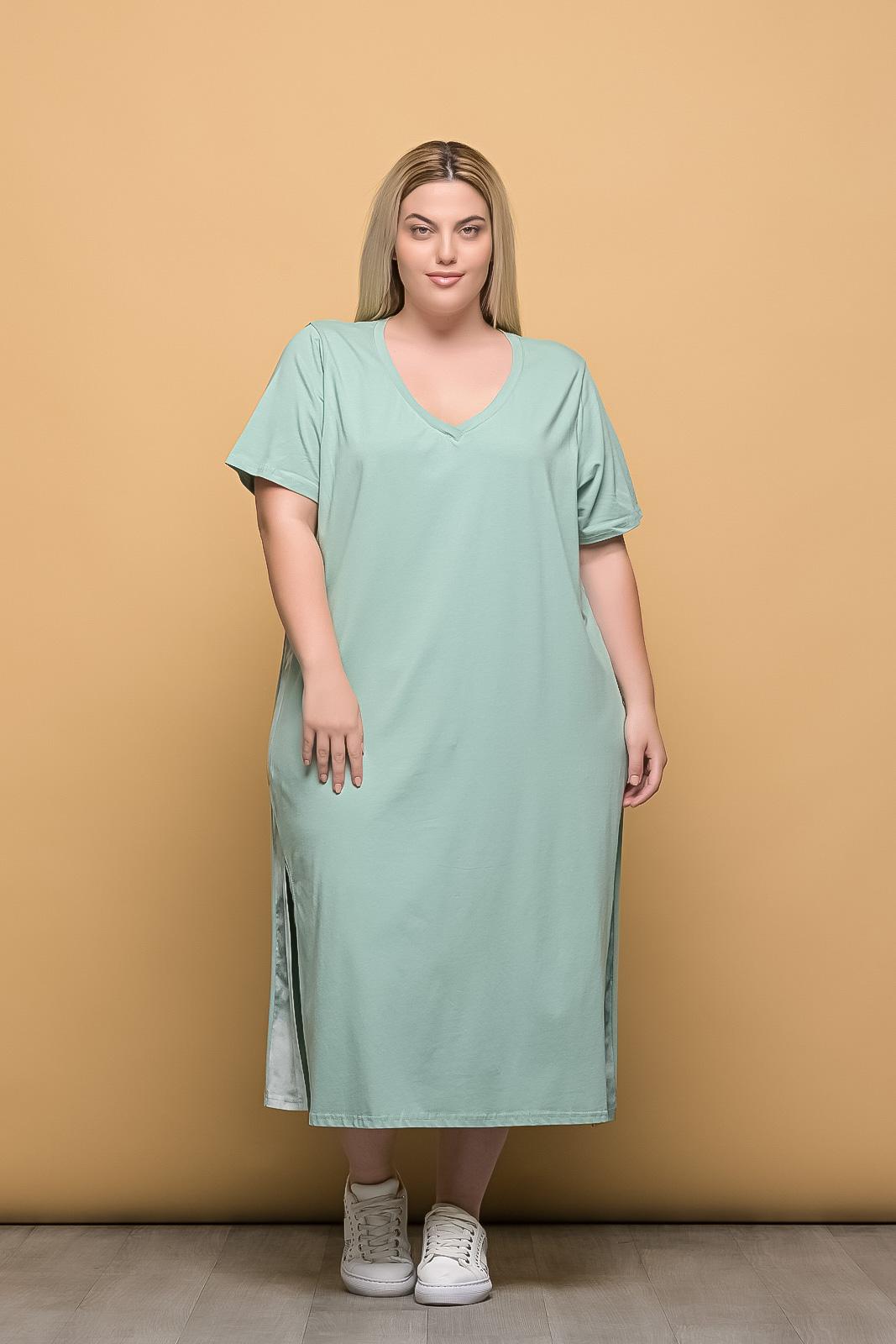 Φόρεμα midi μέντα με V και λωρίδα στο πλάι