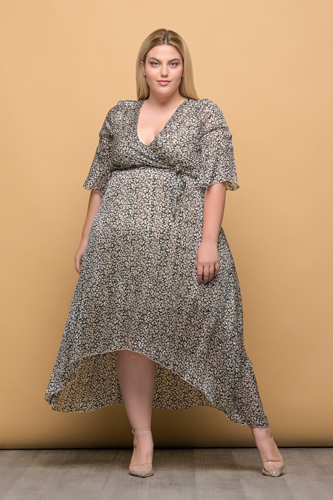 Φόρεμα κρουαζέ μουσελίνα floral/μαύρο