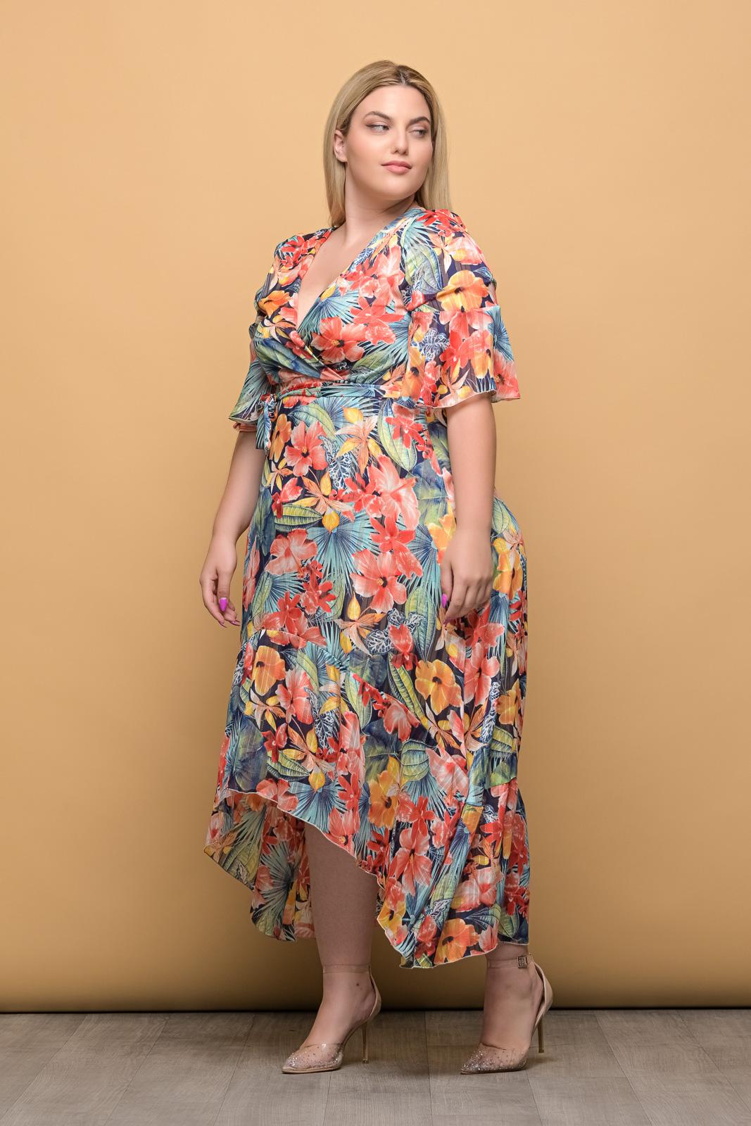 Φόρεμα κρουαζέ μουσελίνα floral ιριδίζον