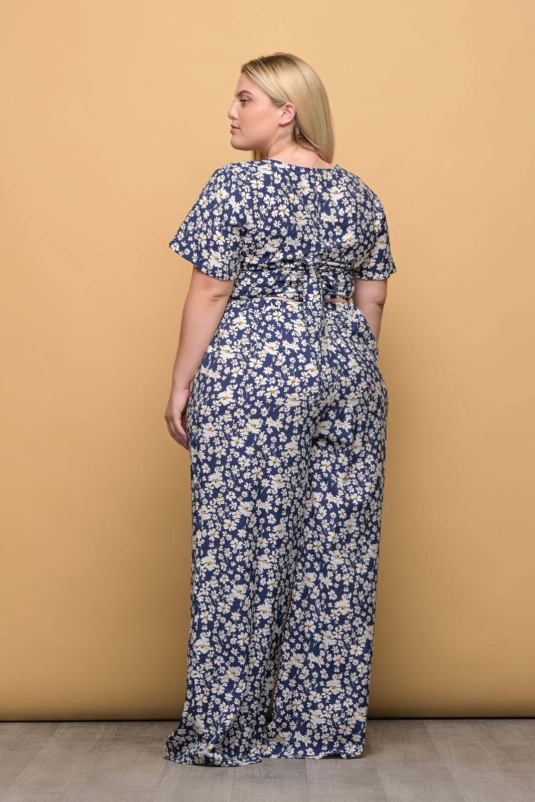 Παντελόνα floral/μπλε με λάστιχο στη μέση