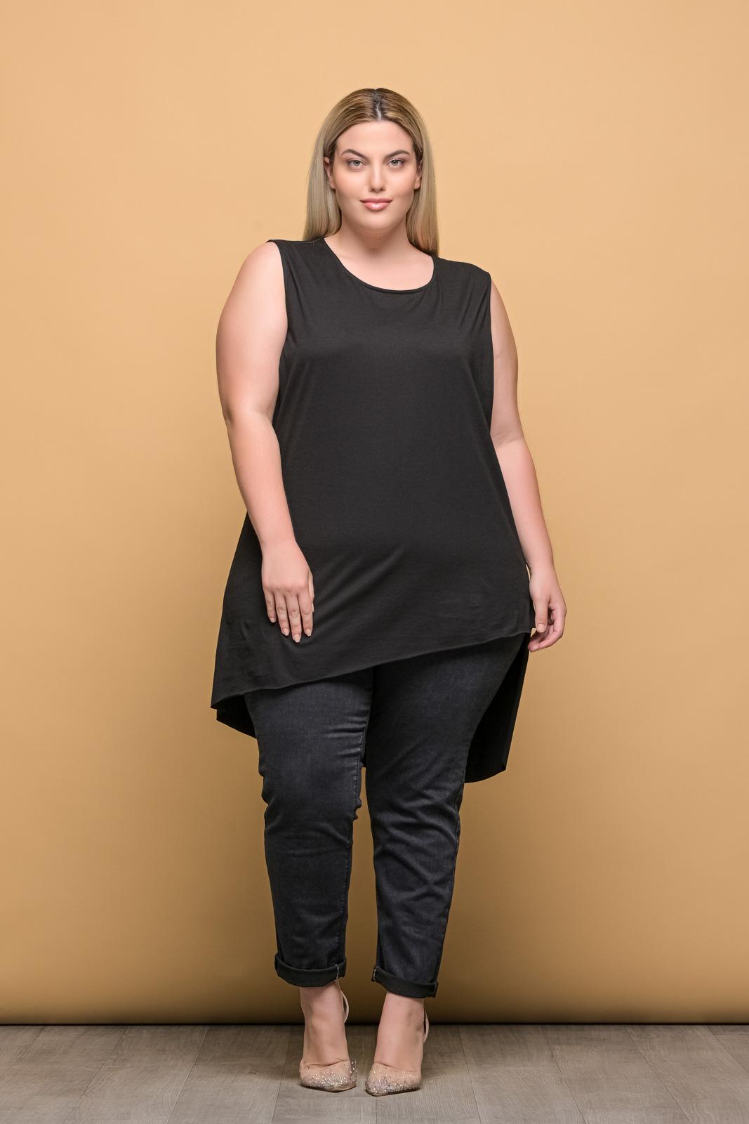 Μπλουζοφόρεμα αμάνικο βαμβακερό μαύρο