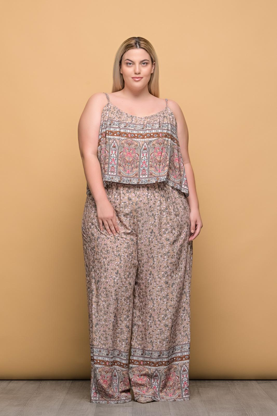 Ολόσωμη φόρμα μεγάλα μεγέθη floral/μπεζ