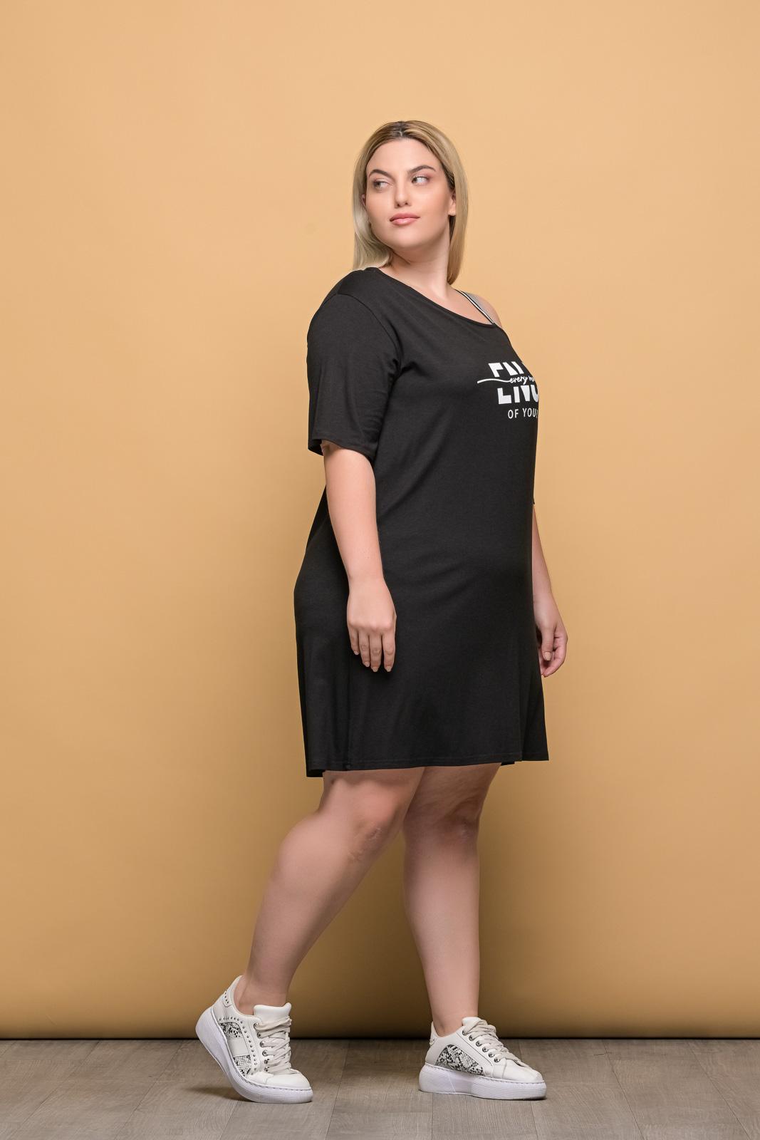 Μπλουζοφόρεμα μαύρο με στάμπα enjoy και έξω ώμο