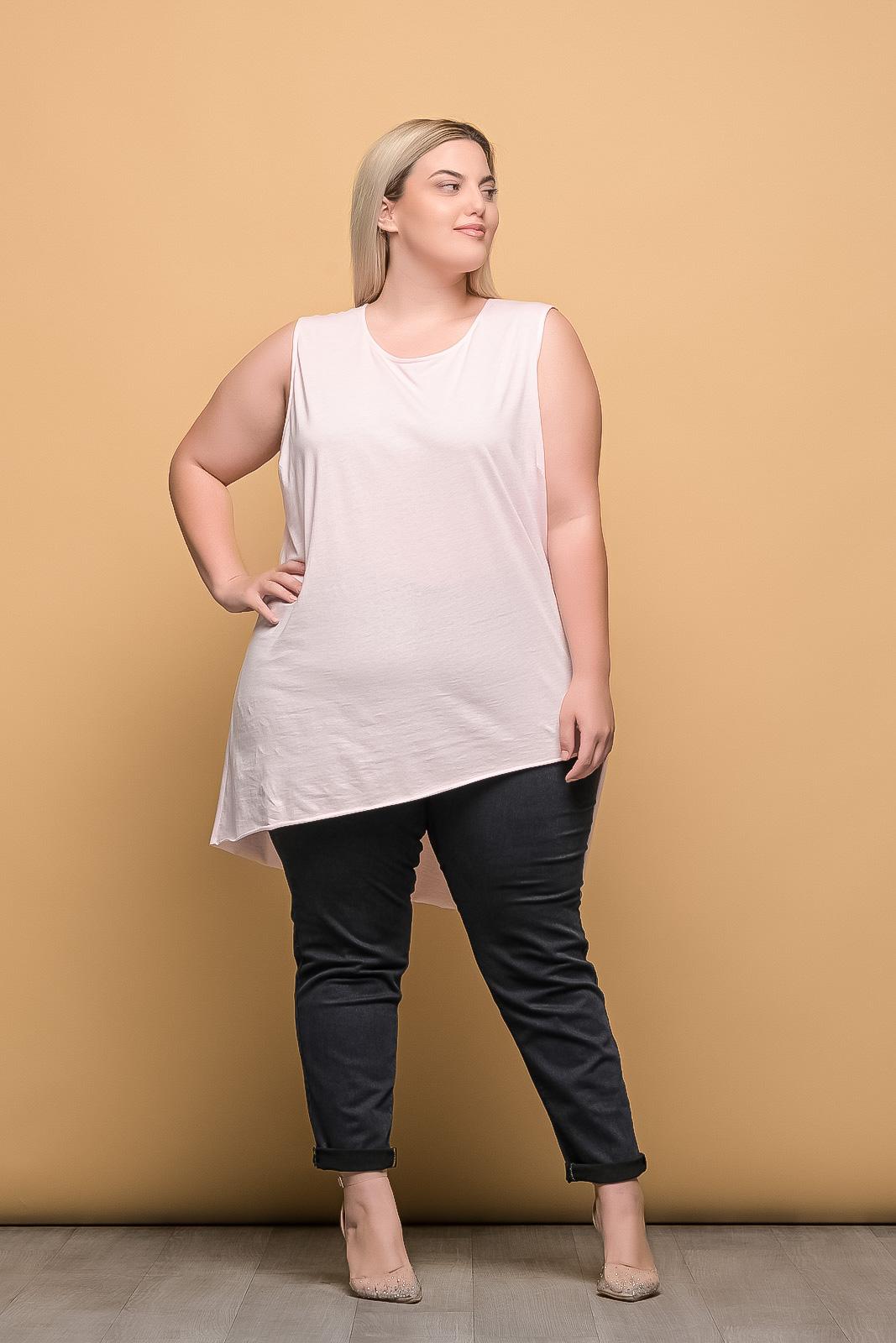 Μπλουζοφόρεμα αμάνικο βαμβακερό σομόν