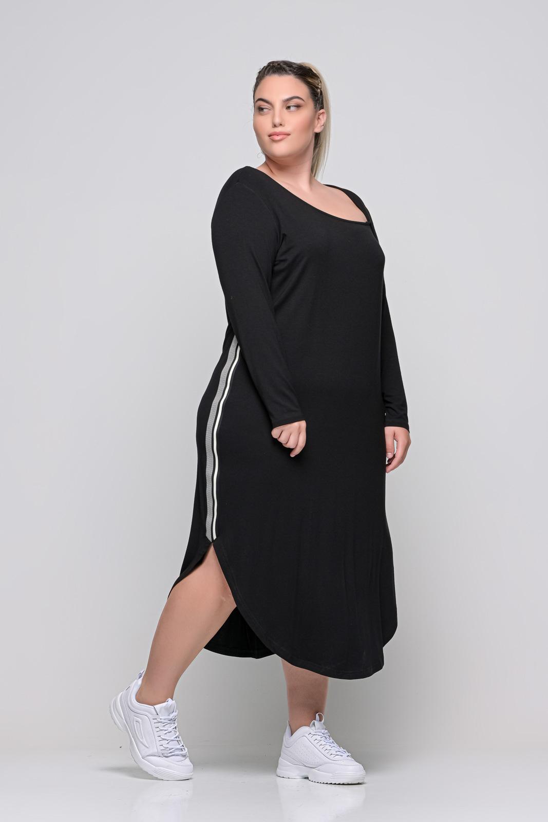 Φόρεμα μεγάλα μεγέθη midi μαύρο