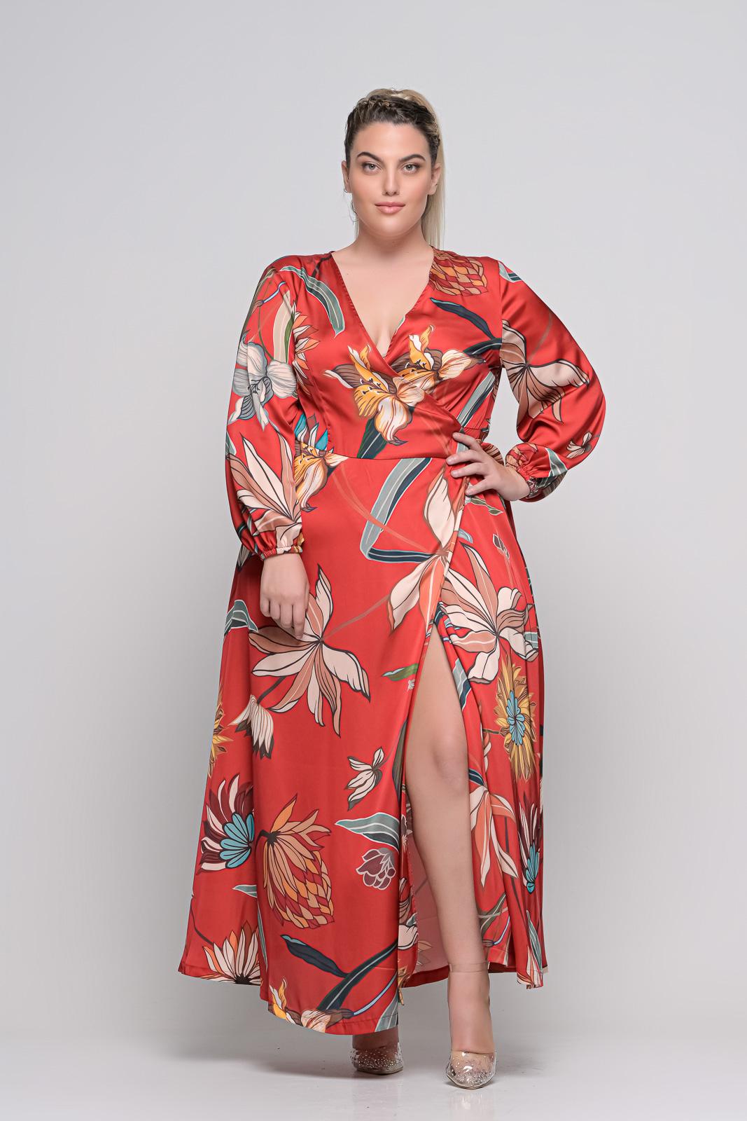 Φόρεμα μεγάλα μεγέθη κρουαζέ floral κεραμυδί