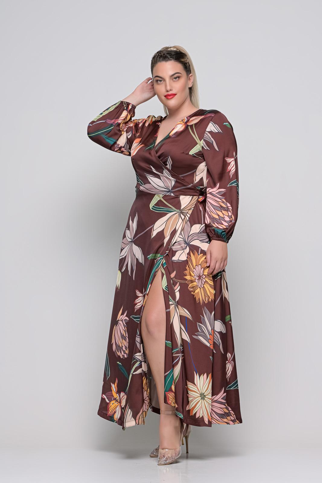 Φόρεμα μεγάλα μεγέθη κρουαζέ floral καφέ