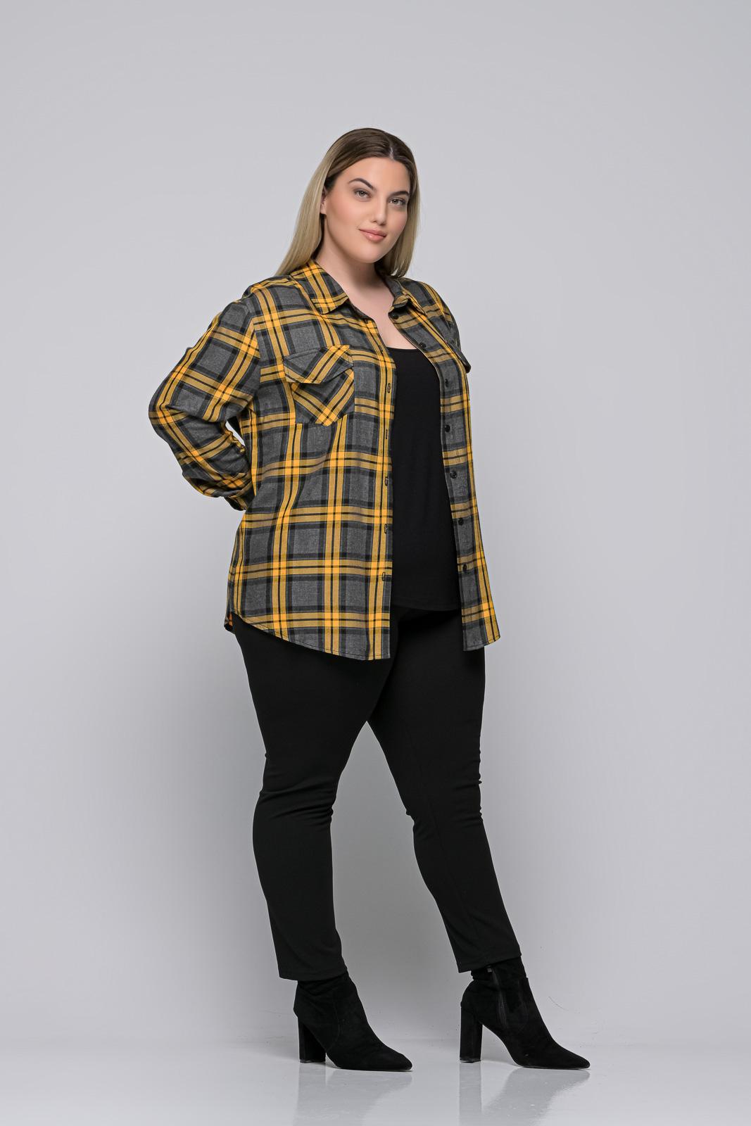 Πουκάμισο μεγάλα μεγέθη καρό κίτρινο/γκρι με τσέπες